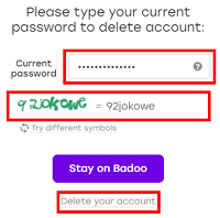 Final Badoo delete account screen