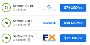 Compare prices of tickets on many websites