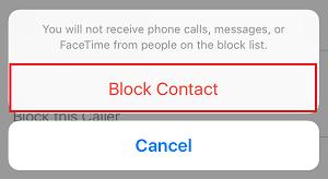 Block Contact button