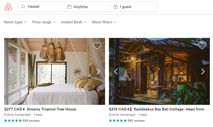 Searching for accommodations on Airbnb as a guest