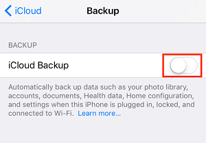 Enable iCloud backup for your device
