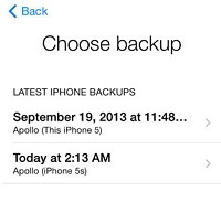 Select backup for device