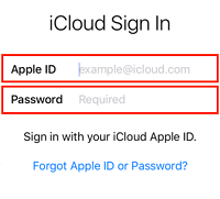 Apple ID sign in screen