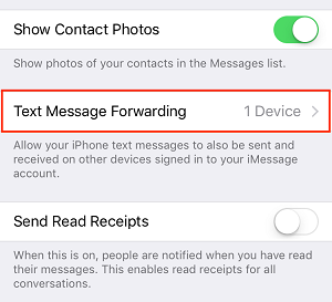 Text Message Forwarding button