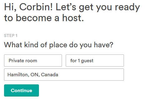 Starting the hosting process on Airbnb