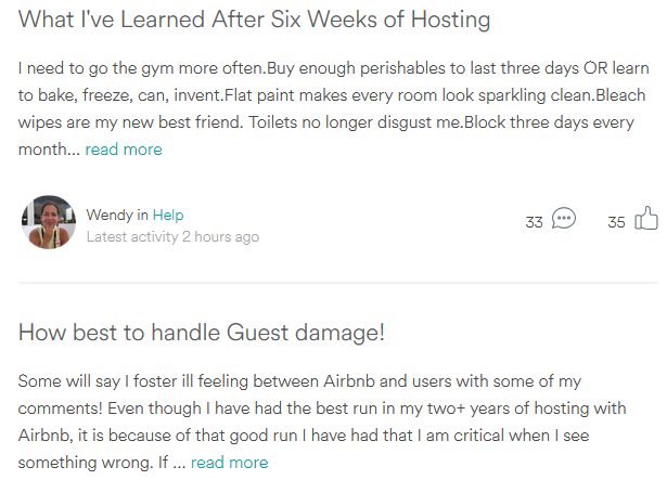 An Airbnb community discussion forum