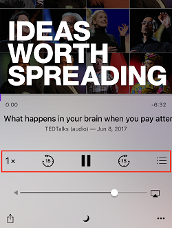 Podcast app playback controls