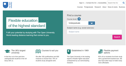 Open.edu homepage