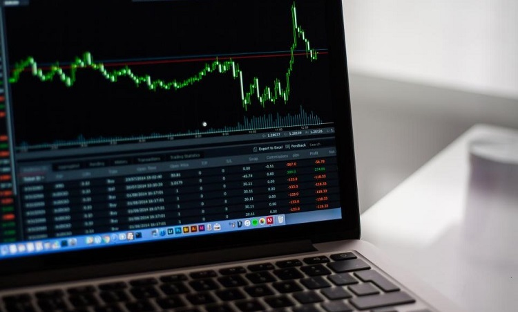 Stock trends on a computer