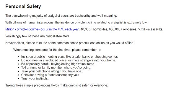 Craigslist personal safety advice