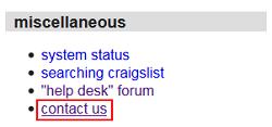 Craigslist Contact Us button