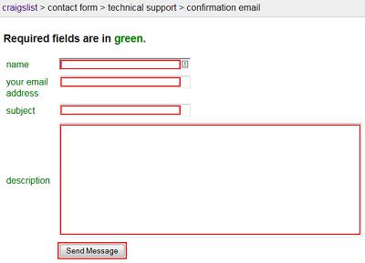 Craigslist contact form