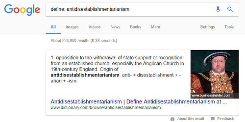Definitions in a Google search