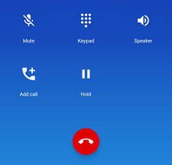 Available options during Android call