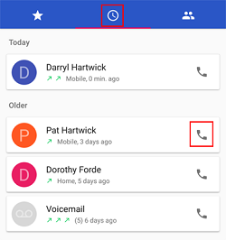 Make call from phone history