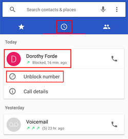 Unblock caller from call history