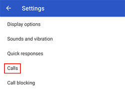 Call settings button
