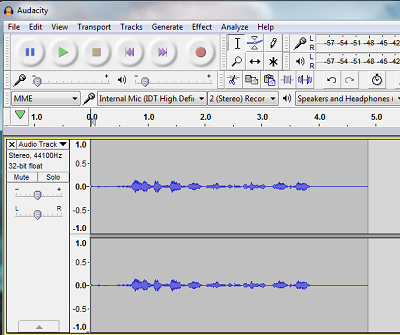Audacity sound recording program screenshot