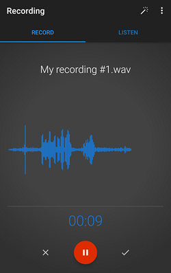 Voice recording app screenshot