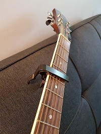 Capo on a guitar