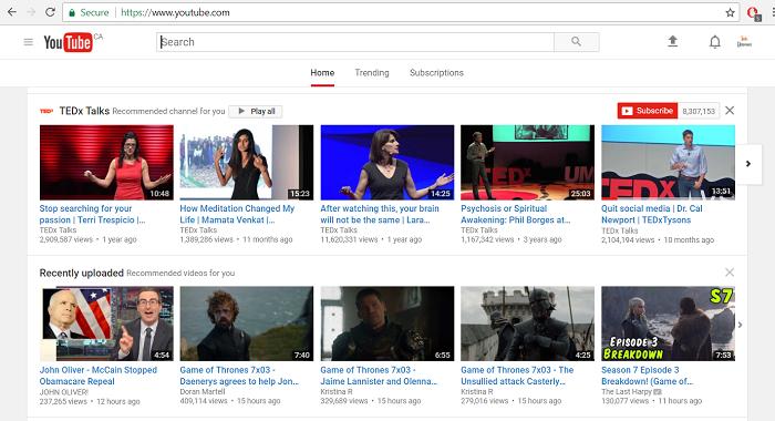 YouTube.com homepage