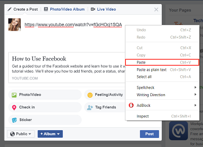 Paste YouTube video URL in Facebook post box