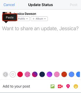 Paste URL in Facebook post