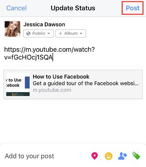 Facebook iOS Post button