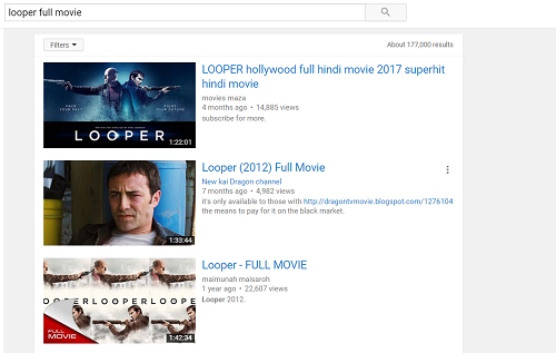 Full Movie search on YouTube