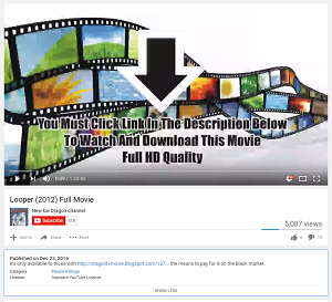Full movie search scam on YouTube