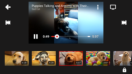 YouTube KIDS app playback controls