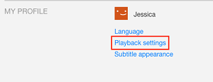 Playback Settings button