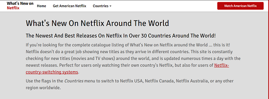 WhatsNewOnNetflix home page