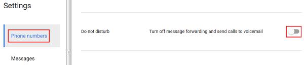 Google Voice Do Not Disturb feature