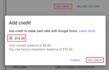 Add credit to Google Voice account