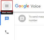 Main menu for Google Voice