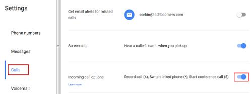 Incoming call options