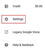 Google Voice settings menu