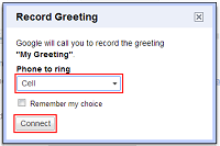 Select phone for recording greeting