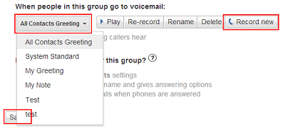 Choose new group voicemail
