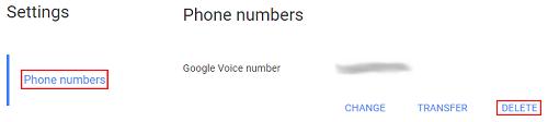 Delete Google Voice number