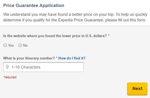 Expedia Price Guarantee refund application form