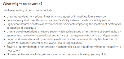 Airbnb list of extenuating circumstances