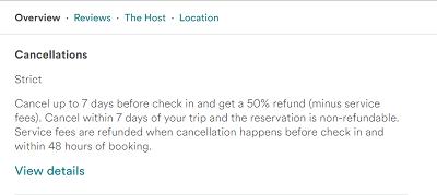 Airbnb cancellation information