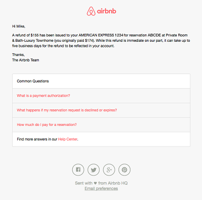 Airbnb refund information and confirmation