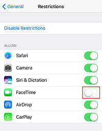 Restrict FaceTime switch
