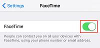 FaceTime toggle