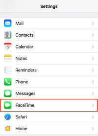 FaceTime settings option