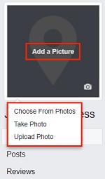 Add a Picture button for profile picture