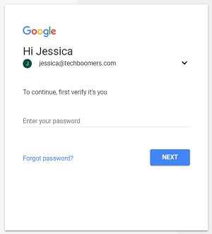 Google account sign in screen